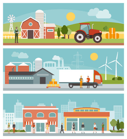 Agriculture, industrial production, transport and commerce banners set, city and landscapes with buildings and people