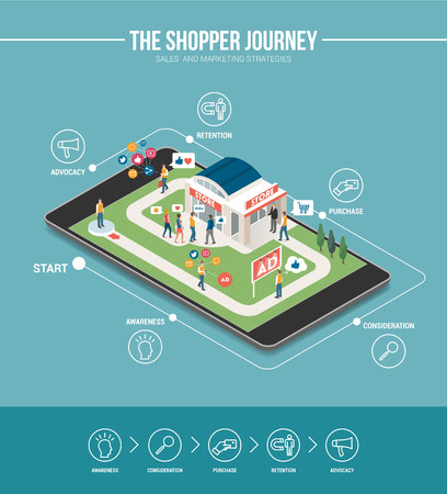 Shopping experience marketing infographic: customer journey and store on a digital touch screen tablet, successful strategies concept Çizim