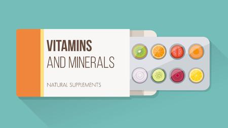 薬で野菜や果物のスライス ブリスター包装およびオープン ボックス、天然サプリメント、ビタミンの概念