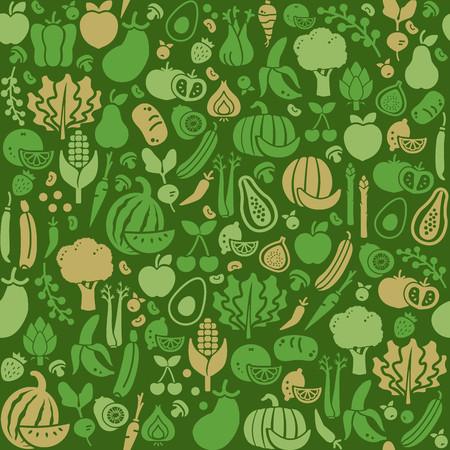 新鮮な野菜や果物のシームレスなテクスチャ、栄養、有機食品、農業の概念