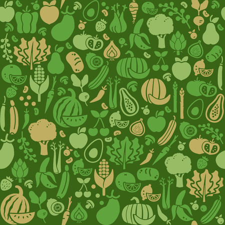 Fresh vegetables and fruits seamless texture, nutrition, organic food and agriculture concept