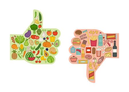 Sane verdure fresche e malsano confronto cibo spazzatura con i pollici in su e giù, mangiare sano e concetto di dieta