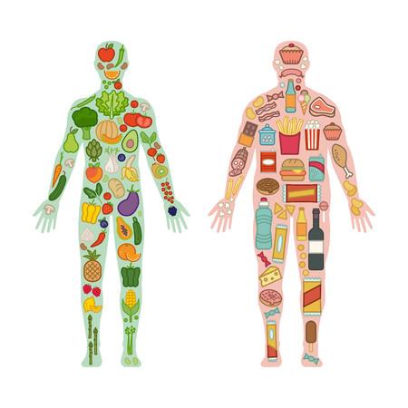 Verduras y frutas frescas en un cuerpo en forma sana y la comida chatarra poco saludable en un cuerpo obeso grasas, dieta saludable y no saludable comparación Foto de archivo - 58290151