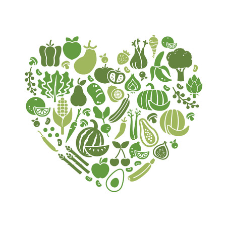 passion ecology: Fresh vegetables and fruits in a heart shape on white background, vegetarian diet and food concept Illustration