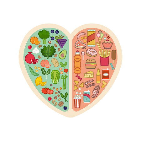 Human heart with healthy fresh vegetables on one side and junk unhealthy food on the other side, healthy food for heart concept