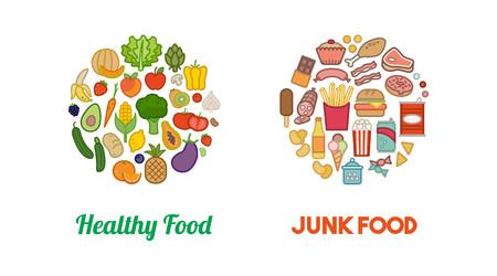 Gezonde verse groenten en ongezond junk food iconen in ronde vormen, dieet en voeding concept