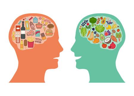 Basura comparación alimentos sanos y verduras dieta poco saludable, mejor alimento para el cerebro concepto
