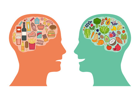 unhealthy thoughts: Junk unhealthy food and healthy vegetables diet comparison, best food for brain concept Illustration