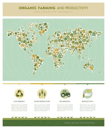 food production: World map composed of vegetables and infographic with icons and text, nutrition and food production concept