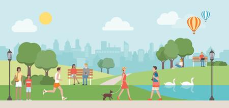 美しい都市公園における自然、街のスカイラインを背景にリラックスできる人