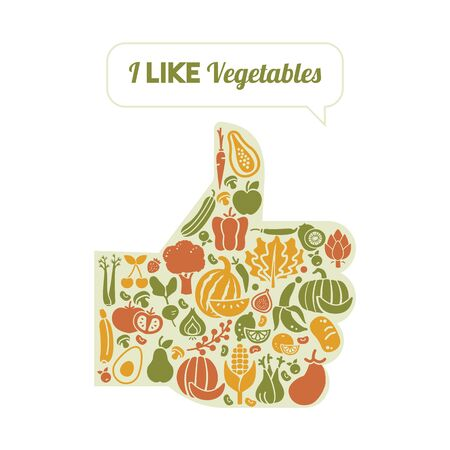 Thumbs up shape composed of fruits and vegetables, healthy eating and organic vegetarian diet concept