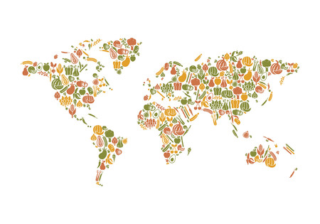World map composed of fruits and vegetables: nutrition and global food production concept