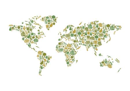 Mappa del mondo composta di frutta e verdura: la nutrizione e alimentare globale concetto di produzione
