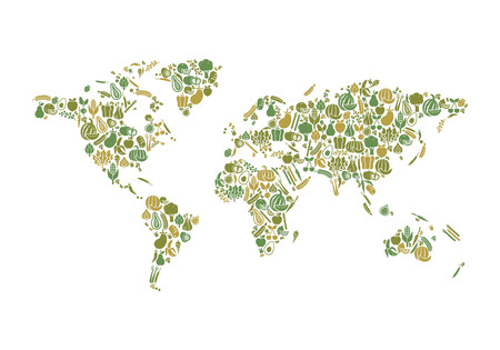 food production: World map composed of fruits and vegetables: nutrition and global food production concept