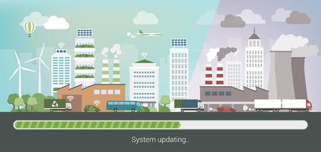 cambiante ciudad contaminada y la mejora en una ciudad ecológica limpia innovadora, cuidado del medio ambiente y la sostenibilidad convept