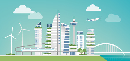 Futuristic green city with wind turbines, skyscrapers and monorail, sustainability and innovation concept Ilustração