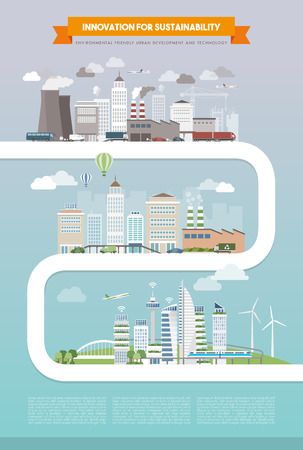 도시 개발, 기술 및 발전 개념, 도시 진화 경로에 대한 혁신과 지속 가능성 일러스트