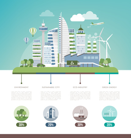 Green sustainable city, ecology and environment infographic, text and copy space Ilustração