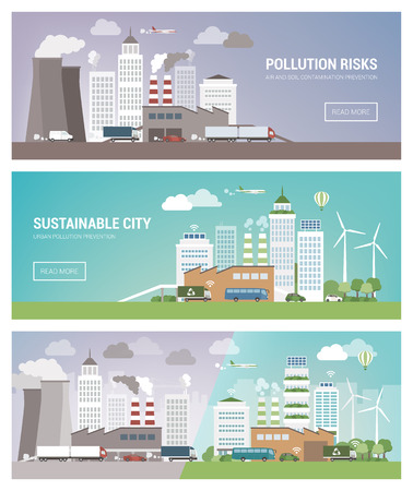 Clean and polluted city banners set, environmental care and urban sustainability concept Çizim