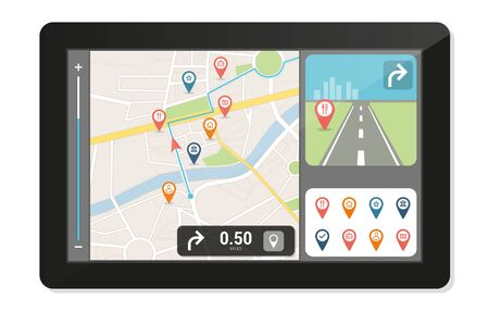 navigation icons: Gps navigation device and city map with pins and icons, technology and travelling concept