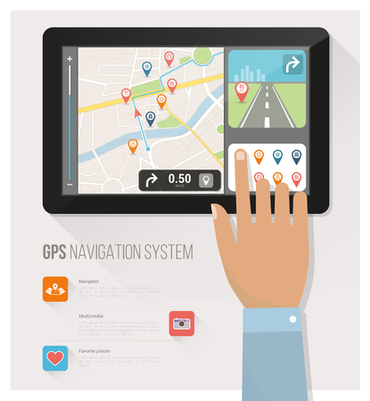 navigation icons: Gps navigation device and city map with pins and icons, a hand is selecting icons
