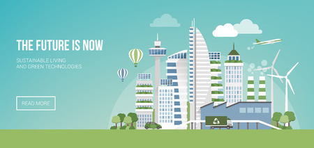 green building: Green smart city banner