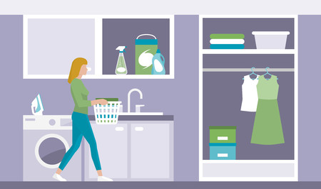 domestic room: Woman doing chores in the laundry room, she is carrying a basket with clean clothes Illustration