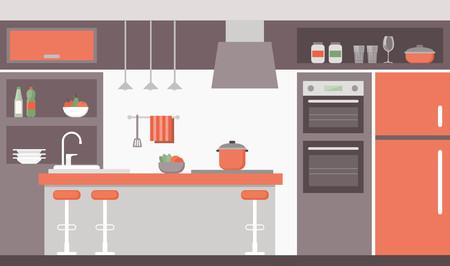 modern kitchen: Modern kitchen interior with design furniture and appliances
