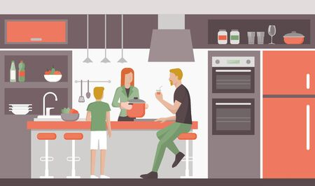 modern kitchen: Happy family in the kitchen, the woman is cooking lunch, interior design and lifestyle concept Illustration