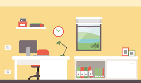 windows home: Colorful modern office with desk and computer Illustration