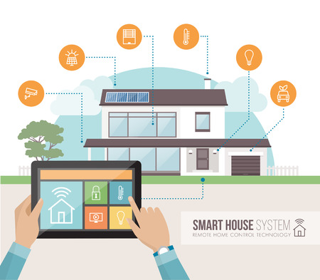 Smart house system control and mobile app on a tablet, contemporary house with icons set on the background Illustration