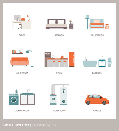 office objects: Conceptual home room interiors with objects and furnishings: office, bedroom, bathroom, living room, kitchen, garage, laundry and boiler room