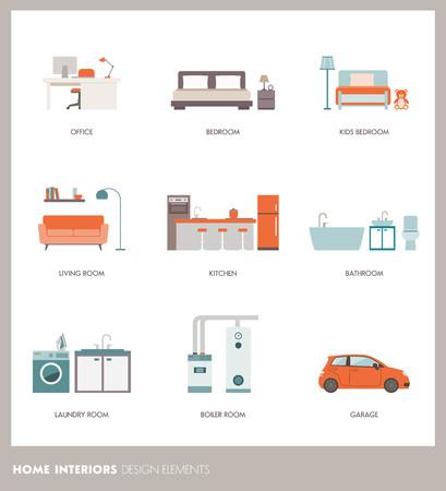 Concettuali interni delle camere casa con oggetti e arredi: ufficio, camera da letto, bagno, soggiorno, cucina, garage, lavanderia e locale caldaia Archivio Fotografico - 65837896