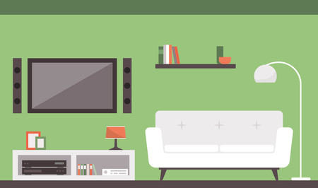 dvd room: Modern living room with sofa and television, interior design concept