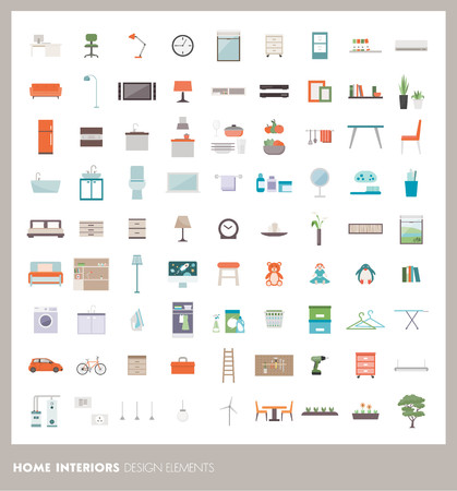 design objects: Home room interiors design elements and icons set: furnishings, objects and appliances