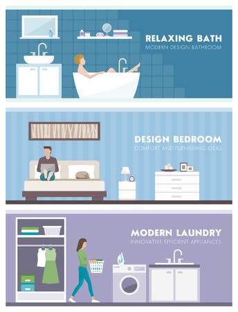 domestic room: Domestic lifestyle and room interiors banners set with people: bathroom, bedroom and laundry room