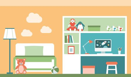 plushie: Kids room with a comfortable bed, a computer on a desktop and a bookshelf with toys Illustration