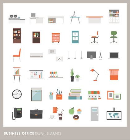 furnishings: Business office icons set: objects, furnishings, decorations and electronics Illustration