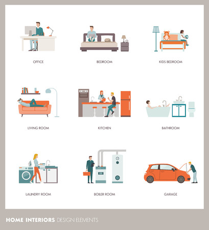 Conceptual home room interiors with people, objects and furnishings: office, bedroom, bathroom, living room, kitchen, garage, laundry and boiler room