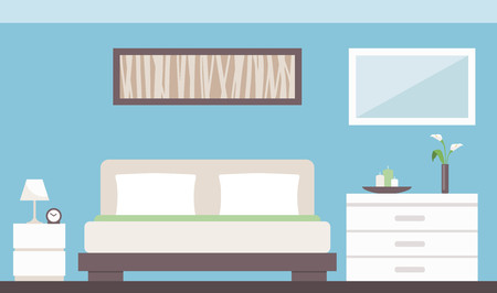 bedside: Modern bedroom interior with bed, dresser, bedside table and decorations