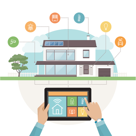 Smart house system control and mobile app on a tablet, contemporary house with icons set on the background  イラスト・ベクター素材