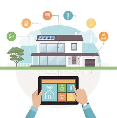 Inteligente sistema de control de la casa y la aplicación móvil en una tableta, casa contemporánea de iconos conjunto de antecedentes