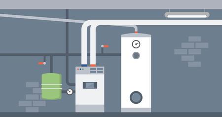 Kocioł w piwnicy domu, system ogrzewania nowoczesny energooszczędny Ilustracje wektorowe