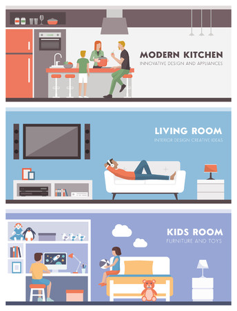 domestic room: Domestic lifestyle and room interiors banners set with people: kitchen, living room and kids bedroom
