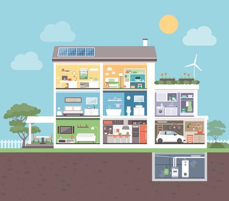 sección transversal Casa moderna con habitaciones: dormitorio, oficina, baño, cocina, sala de estar, lavandería, garaje, sala de calderas Ilustración de vector