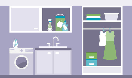 domestic room: Modern laundry room with washing machine, iron and wardrobe