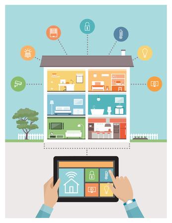 태블릿에 스마트 하우스 시스템 제어 및 모바일 앱, 배경에 설정된 객실 및 아이콘이있는 현대 집 일러스트