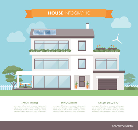 Contemporary eco house, with solar panels, wind generator and garden, architecture and sustainability concept Illustration