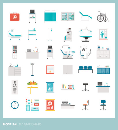 Medical equipment and tools, hospital and healthcare design elements Illustration