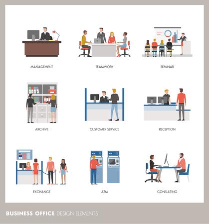 Comerciales y bancarias conceptos: la gente de negocios que trabajan en la oficina y los clientes Foto de archivo - 66570457